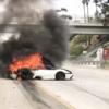 アメリカ・ロサンゼルスにてランボルギーニ「ムルシエラゴ」がクラッシュ&大炎上で廃