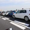 東北自動車道にて、右車線(追越し車線)が玉突き事故で大渋滞。以前から追越し車線を集